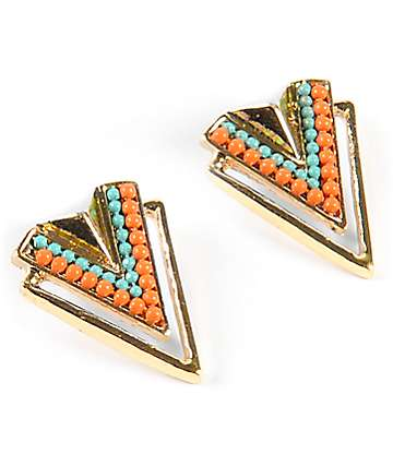 Stone + Locket Chevron Stud Earrings
