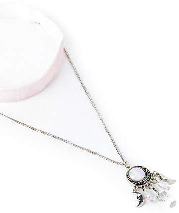 Stone + Locket Crescent Moon Stone par de collares