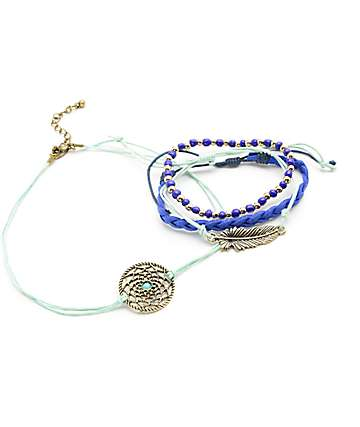 Stone + Locket Dream catcher Chocker & 3 Bracelet Pack