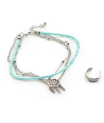 Stone + Locket Dreamcatcher Anklet & Toe Ring Pack