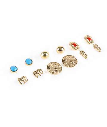 Stone + Locket Elephant & Tribal Multipack Stud Earrings