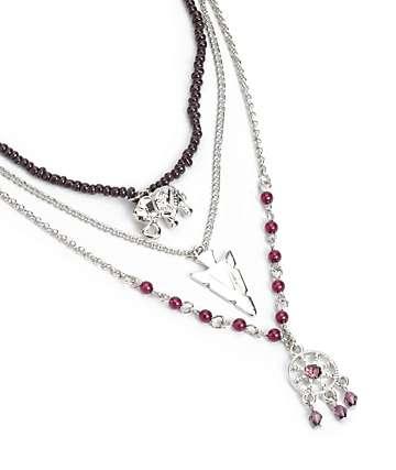 Stone + Locket Elephant Arrow Layered Necklace
