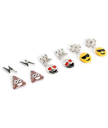 Stone + Locket Emoji Multipack Stud Earrings