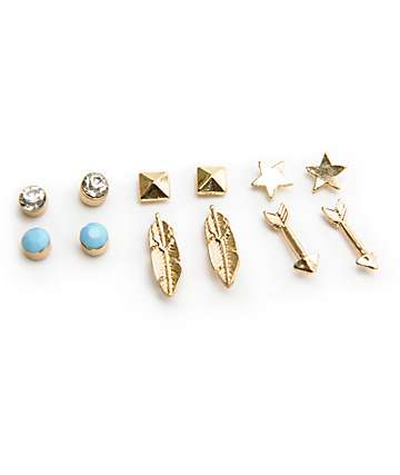 Stone + Locket Feather & Star Multipack Stud Earrings