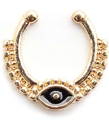 Stone + Locket Gold & Black Eye Faux Septum