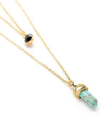 Stone + Locket Gold & Blue Stone Multilayered Necklace