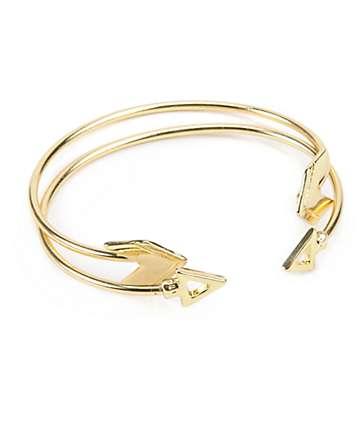 Stone + Locket Gold Arrow Cuff  Bracelet Pack