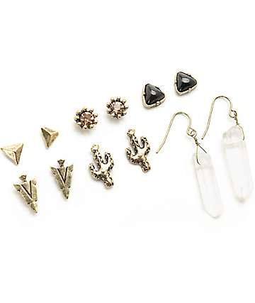 Stone + Locket Gold Cactus & Stone 6 Pack Earing Set