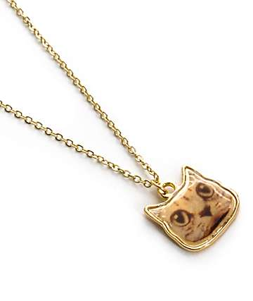 Stone + Locket Gold Cat Face Pendant Necklace