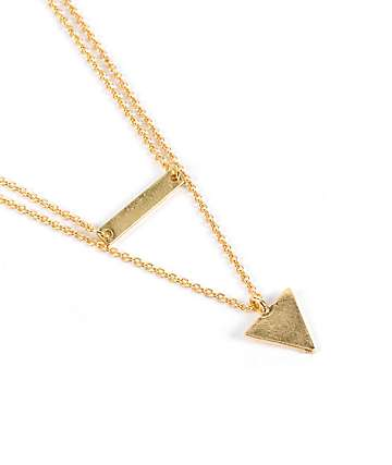 Stone + Locket Gold ID Bar & Triangle Layered Necklace