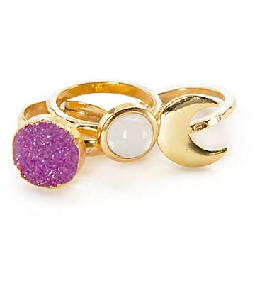 Stone + Locket Gold Moon & Crystal 3 Pack