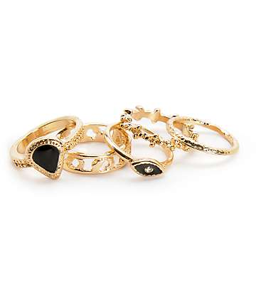 Stone + Locket Gold Seeing Eye Multipack Rings
