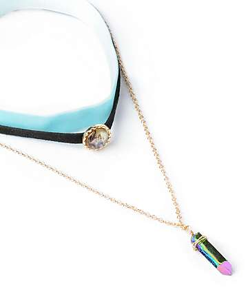Stone + Locket Gold Velvet Crystal Necklace Set