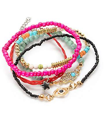 Stone + Locket Hamsa, Bead & Star 5 Pack Bracelets