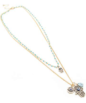 Stone + Locket Hamsa Bead Multi Layer Neckalce