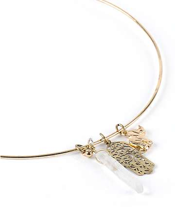 Stone + Locket Hamsa Elephant Crystal Choker Necklace