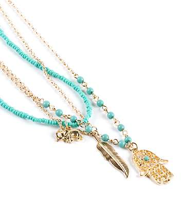 Stone + Locket Hamsa Layered Necklace
