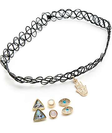 Stone + Locket Hamsa Tattoo Choker & 3 Stud Earrings Multipack