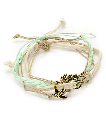 Stone + Locket Infinity & Feather Bracelet Pack