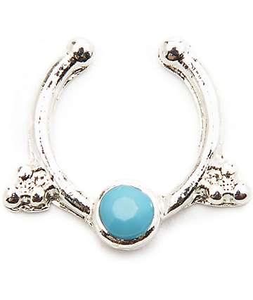 Stone + Locket Lana Silver & Turquoise Faux Septum