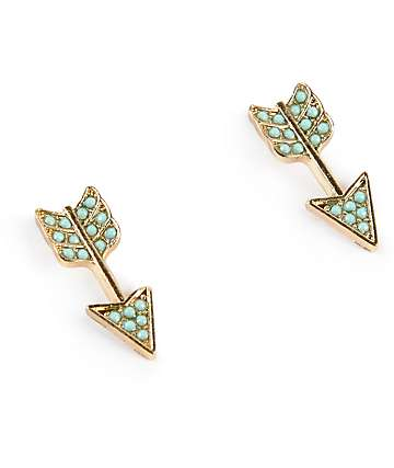Stone + Locket Mint & Gold Arrow Stud Earrings