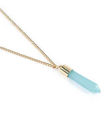 Stone + Locket Mint Crystal Bullet Necklace