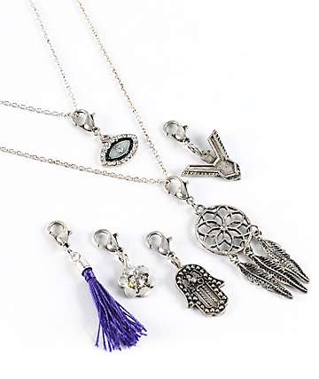 Stone + Locket Mix & Match Charms Layered Necklace