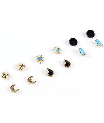 Stone + Locket Moon & Star Multipack Stud Earrings