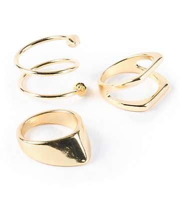 Stone + Locket Multipack Gold Arrow Rings