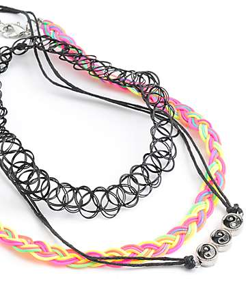 Stone + Locket Neon Braid Multipack Choker Necklaces