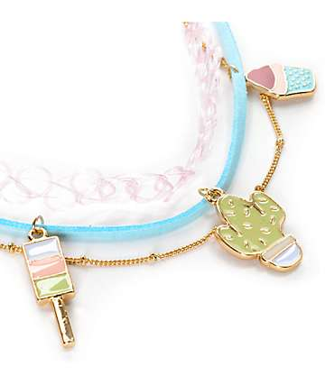 Stone + Locket Pastel Enamel Cactus Choker Necklace 3 Pack