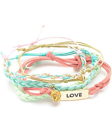 Stone + Locket Pastel Pink & Blue Bracelet Pack