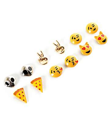 Stone + Locket Pizza, Alien & Emoji Multipack Stud Earrings