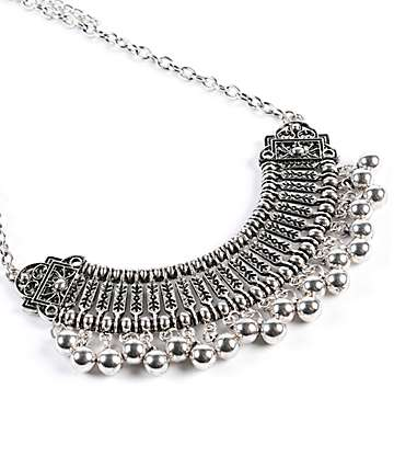 Stone + Locket Silver Bib Statement Necklace