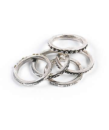 Stone + Locket Silver Etched Ring Multipack