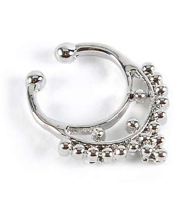 Stone + Locket Silver Faux Septum Nose Ring