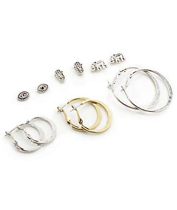 Stone + Locket Silver Hamsa Stud & Hoop Multipack Earrings