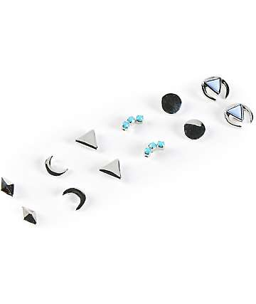 Stone + Locket Silver Moon & Triangle Multipack Stud Earrings