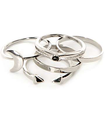 Stone + Locket Silver Moon Midi Ring 5 Pack
