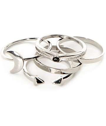 Stone + Locket Silver Moon Midi paquete de 5 anillos