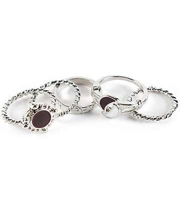 Stone + Locket Silver Moons Multipack Rings