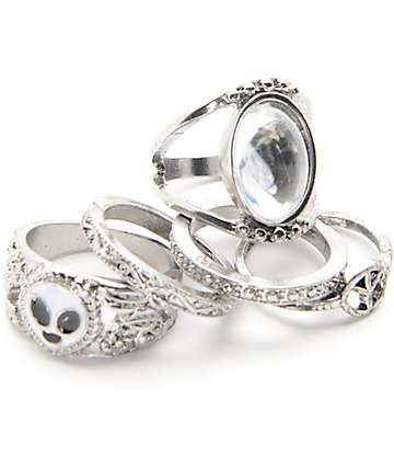Stone + Locket Silver Moonstone & Alien Rings
