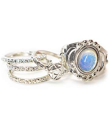 Stone + Locket Silver Moonstone & Pentagram Rings 5 Pack