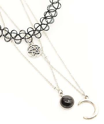 Stone + Locket Silver Pentacle Tattoo & Mood Necklaces