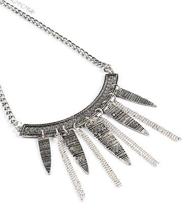 Stone + Locket Silver Tribal Bib Necklace