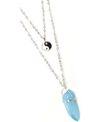 Stone + Locket Silver Yin Yang & Crystal Layered Necklace
