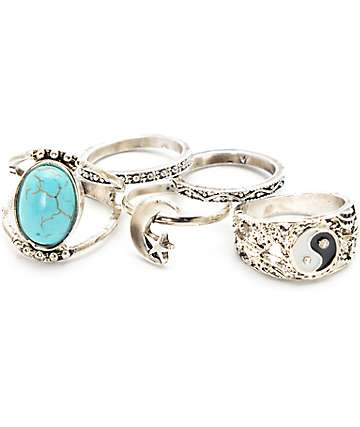 Stone + Locket Silver Yin Yang & Stone Ring Multipack