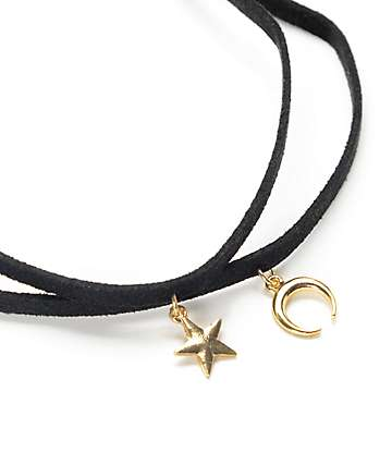 Stone + Locket Star & Crescent Black Suede Choker