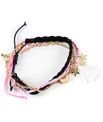 Stone + Locket Tassel Braid Charm Friendship Bracelet Pack