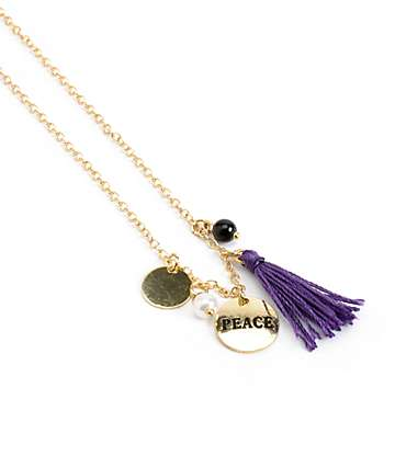 Stone + Locket Tassel Gold Coin Pendant Necklace